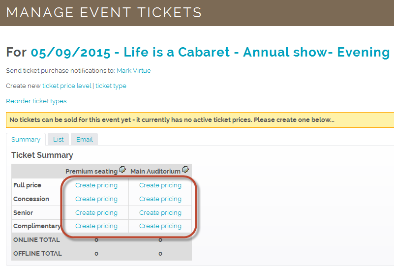 Manage Tickets Page